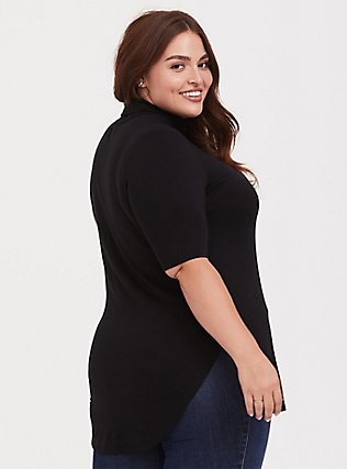 Plus Size Super Soft Black Turtleneck Tunic Tee, DEEP BLACK, alternate