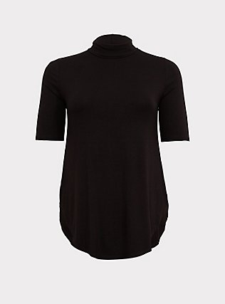 Plus Size Super Soft Black Turtleneck Tunic Tee, DEEP BLACK, flat