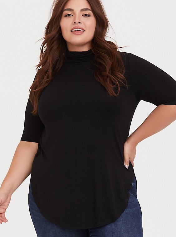Plus Size Super Soft Black Turtleneck Tunic Tee, , hi-res