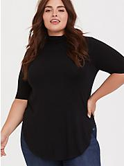 Super Soft Black Turtleneck Tunic Tee, DEEP BLACK, hi-res