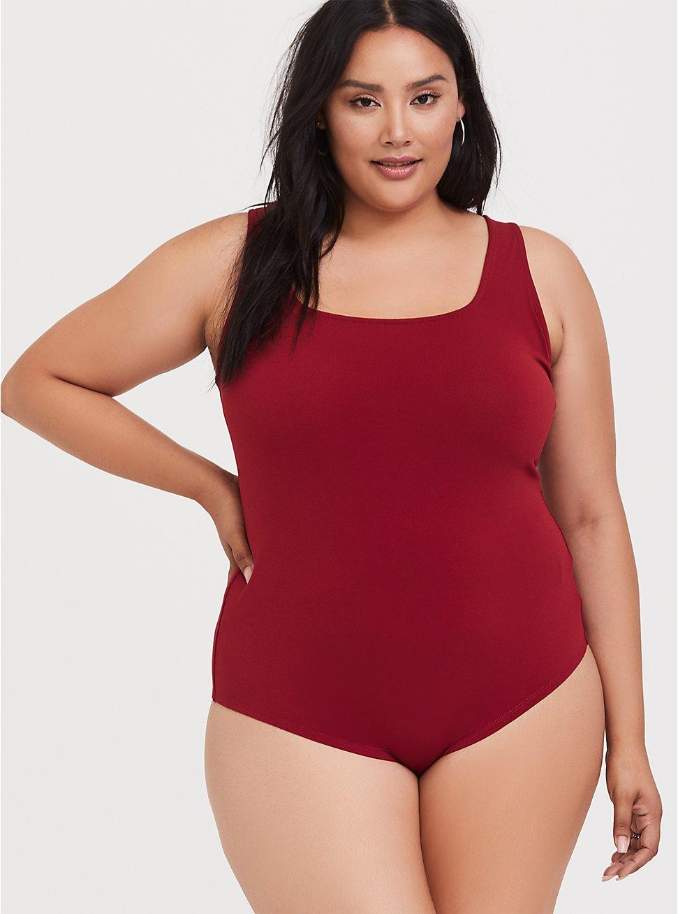 Dark Red Crepe Square Neck Bodysuit, BIKING RED, hi-res