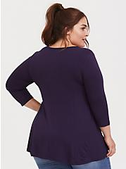 Plus Size Purple Super Soft Smocked Front Top, MULLED CURRANT, alternate