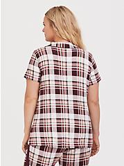 Plus Size Burgundy Purple Plaid Button Front Sleep Shirt, BURGUNDY, alternate