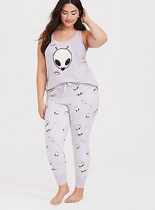 Light Lavender Purple Alien Sleep Pant, MULTI, hi-res