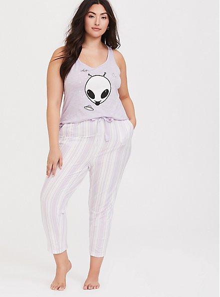Purple  & White Sleep Crop Pant, MULTI, alternate