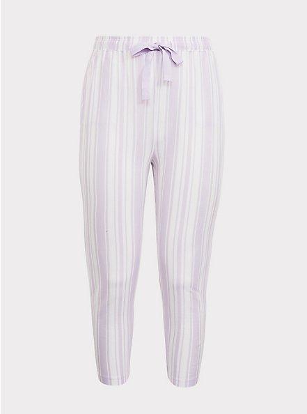 Purple  & White Sleep Crop Pant, MULTI, hi-res