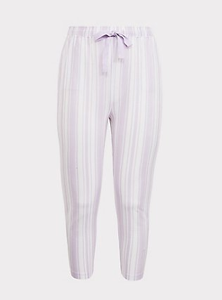 Purple  & White Sleep Crop Pant, MULTI, flat