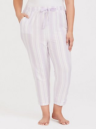 Purple  & White Sleep Crop Pant, MULTI, hi-res