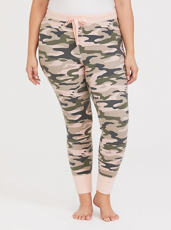 Camo & Pink Drawstring Sleep Pant, , hi-res