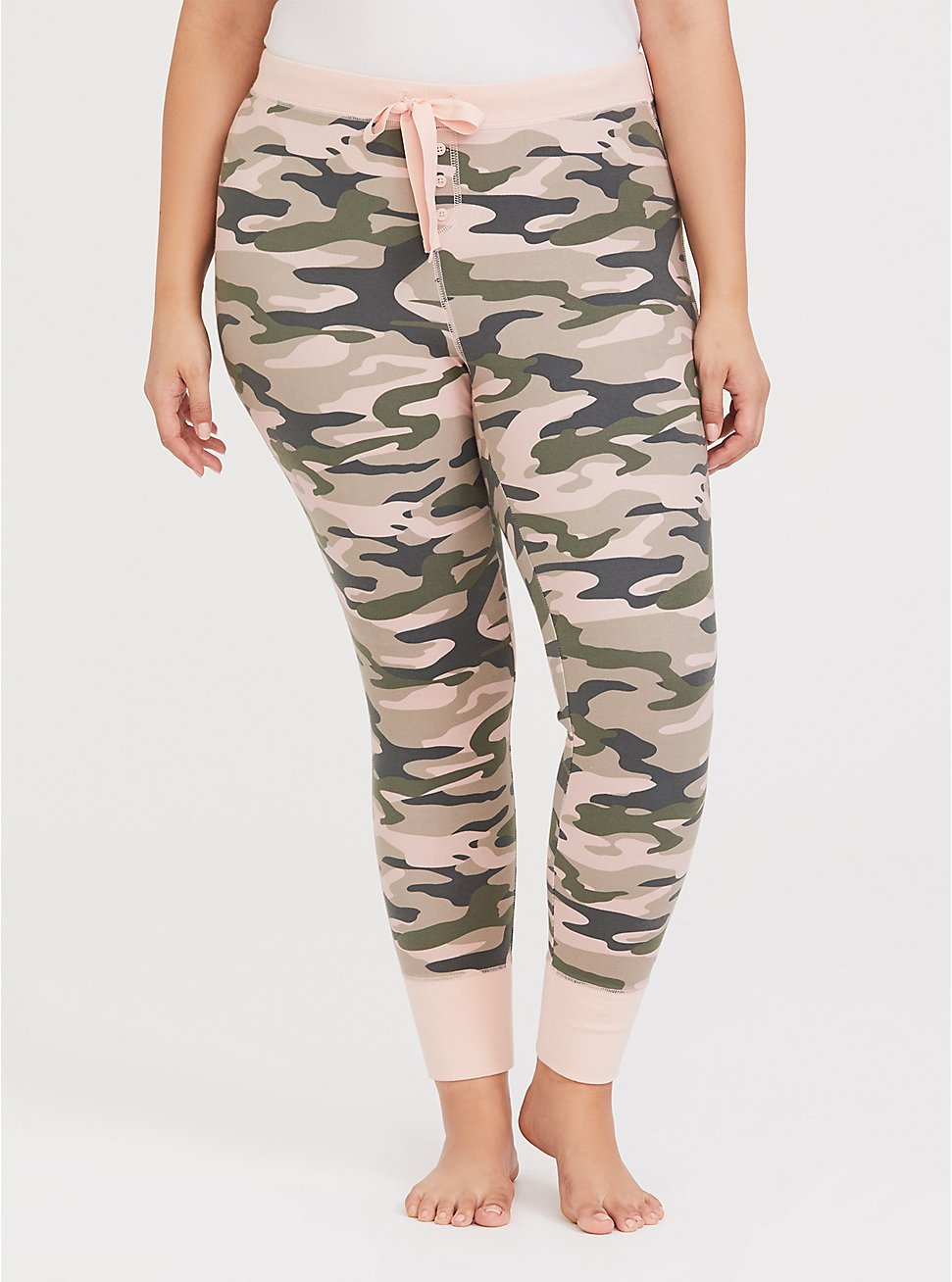 Plus Size Camo & Pink Drawstring Sleep Pant, MULTI, hi-res