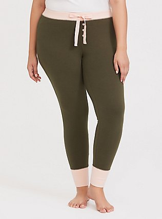 Olive Green & Pink Sleep Pant, OLIVE, alternate
