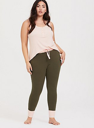 Olive Green & Pink Sleep Pant, OLIVE, hi-res