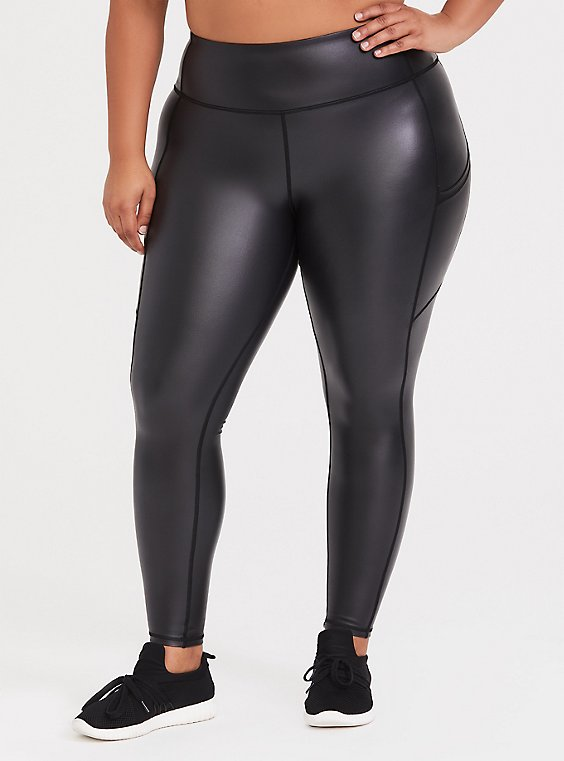 Plus Size Black Coated Crop Active Legging with Pockets, , hi-res