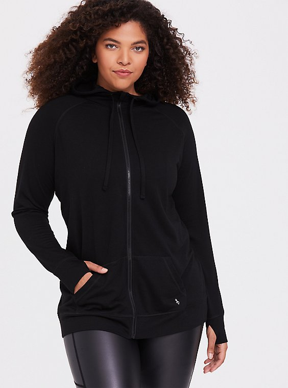 Black Relaxed Fit Active Zip Hoodie, , hi-res