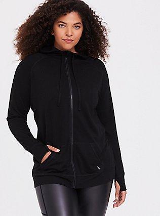 Black Relaxed Fit Active Zip Hoodie, DEEP BLACK, hi-res
