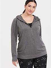 Dark Grey Terry Active Zip Hoodie, CHARCOAL, hi-res
