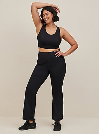 Black Bootcut Wicking Active Yoga Pant with Pockets, DEEP BLACK, hi-res