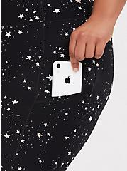 Black & White Celestial Crop Wicking Active Legging with Pockets, MULTI, alternate