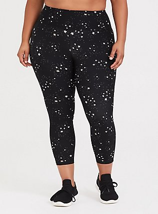Black & White Celestial Crop Wicking Active Legging with Pockets, MULTI, hi-res