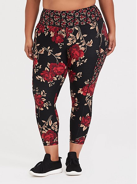 Black & Red Floral Moisture Wicking Active Crop Legging with Pockets, MULTI, alternate