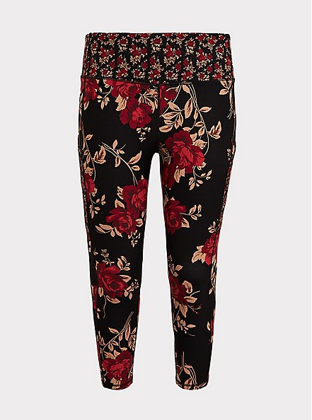 Black & Red Floral Moisture Wicking Active Crop Legging with Pockets, MULTI, hi-res