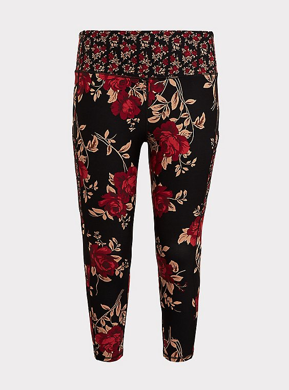 Black & Red Floral Moisture Wicking Active Crop Legging with Pockets, , flat