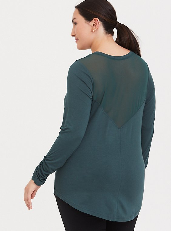 Green Mesh Long Sleeved Active Tee, , hi-res