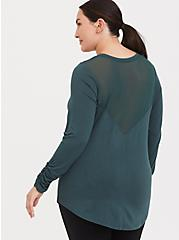 Green Mesh Long Sleeved Active Tee, MUSHROOM, hi-res