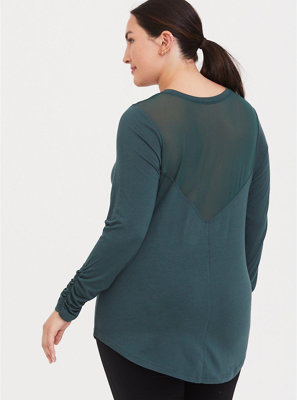 Plus Size Green Mesh Long Sleeved Active Tee, MUSHROOM, hi-res