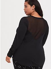 Black Mesh Long Sleeved Active Tee, DEEP BLACK, hi-res