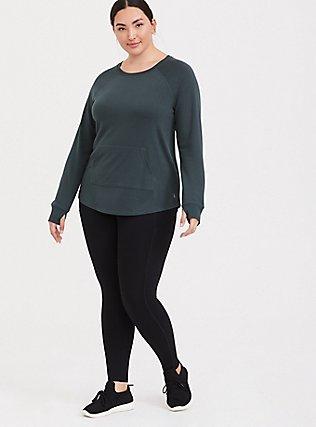 Plus Size Green Raglan Active Sweatshirt, GREEN, alternate