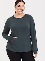 Green Raglan Active Sweatshirt, GREEN, hi-res