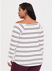 White & Purple Stripe Off Shoulder Active Top, MULTI, alternate