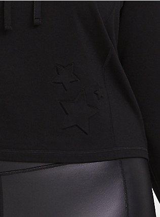 Black Embossed Star Active Crop Hoodie, DEEP BLACK, alternate