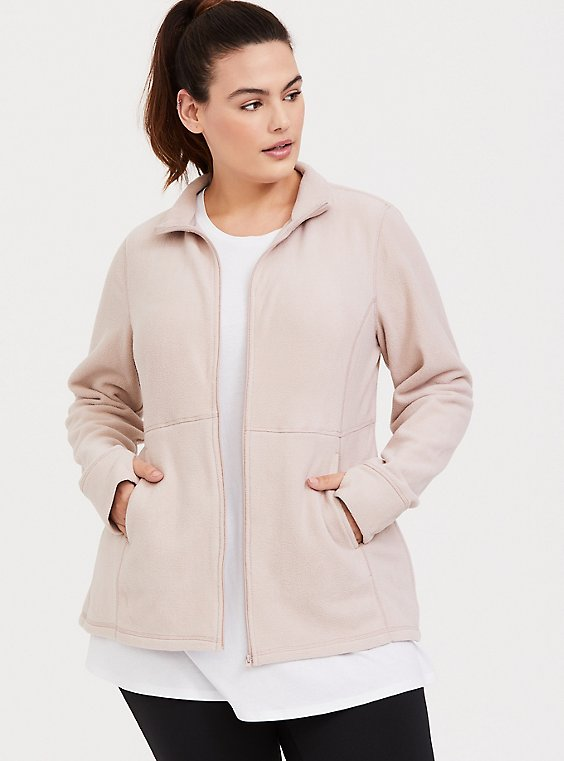 Mauve Brown & Pink Polar Fleece Active Jacket, , hi-res