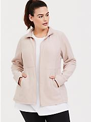 Plus Size Tan Polar Fleece Active Jacket, MUSHROOM, hi-res