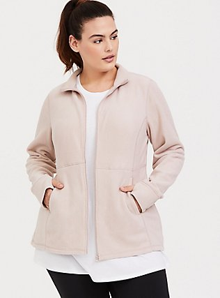 Mauve Brown & Pink Polar Fleece Active Jacket, MUSHROOM, hi-res