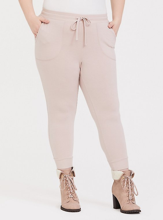 Plus Size Light Taupe Active Jogger, , hi-res