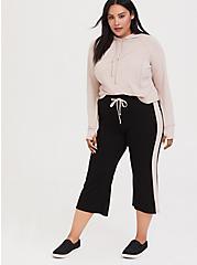 Plus Size Black Stripe Active Culotte Jogger, DEEP BLACK, hi-res