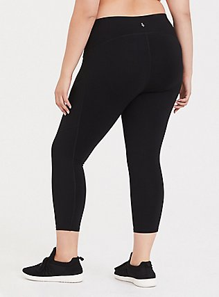 Black Crop Wicking Active 360° Legging with Pockets, DEEP BLACK, alternate
