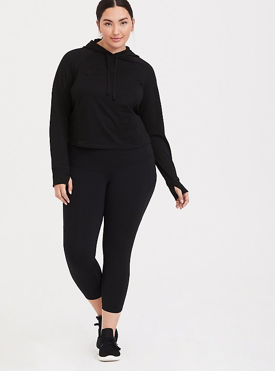 Plus Size Black Crop Wicking Active 360° Legging with Pockets, , hi-res