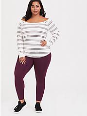 Plus Size Burgundy Purple Fleece Active Legging, BURGUNDY, alternate