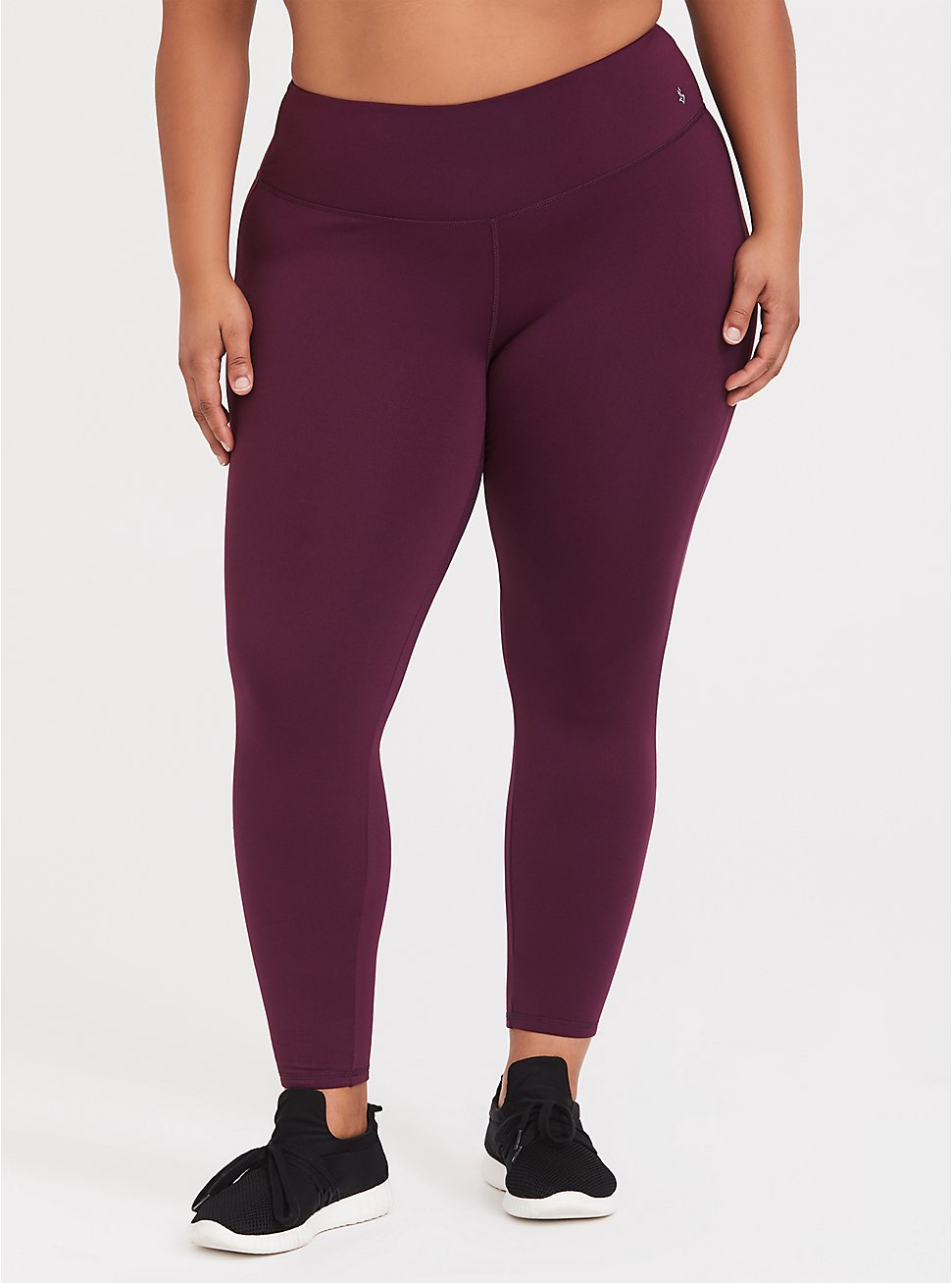 Plus Size Burgundy Purple Fleece Active Legging, BURGUNDY, hi-res