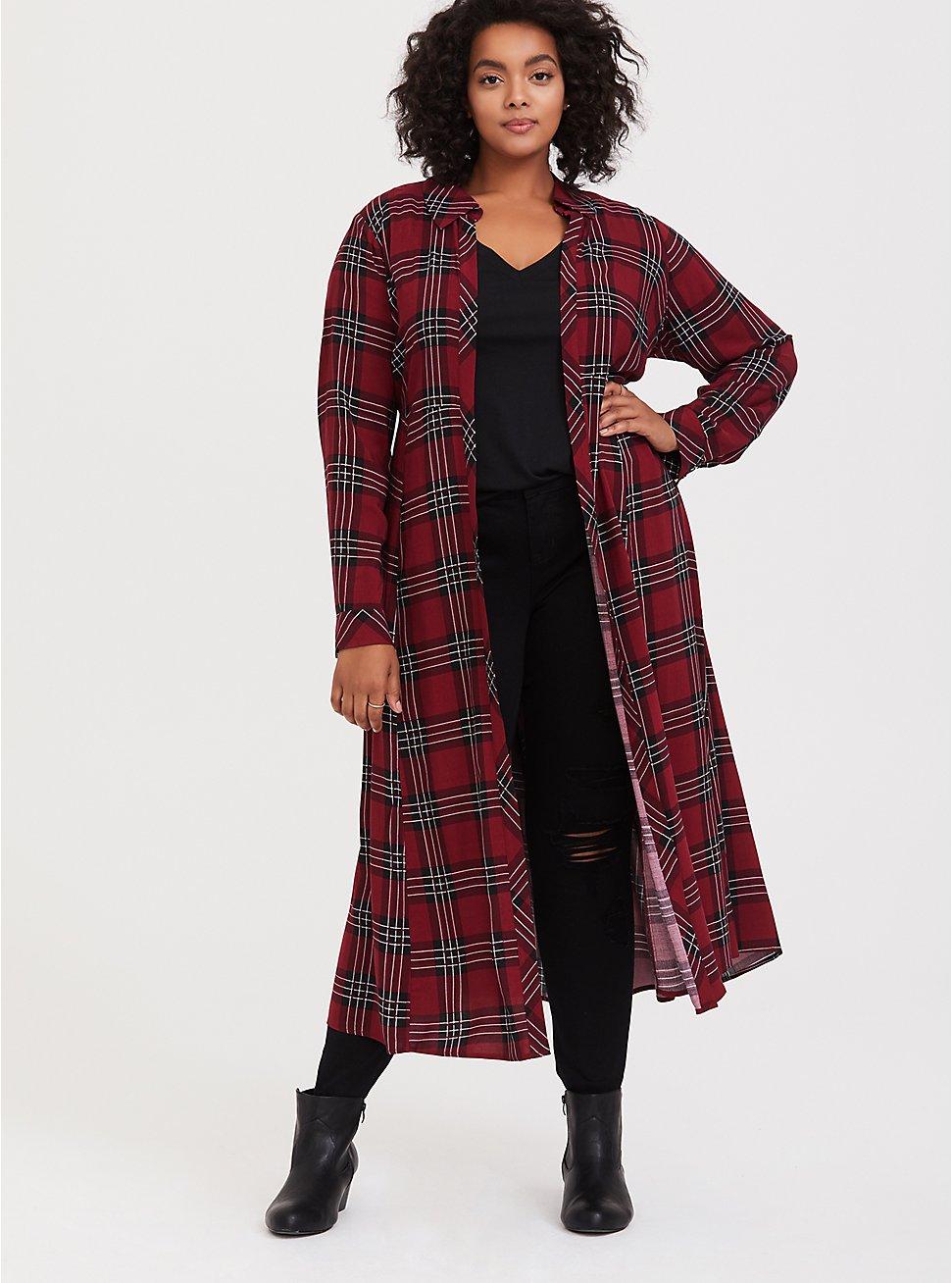Red Plaid Challis Duster Kimono, PLAID, hi-res