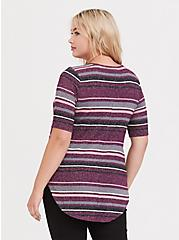 Purple Multi Stripe Hacci Favorite Tunic Tee, SEASIDE STRIPE, alternate