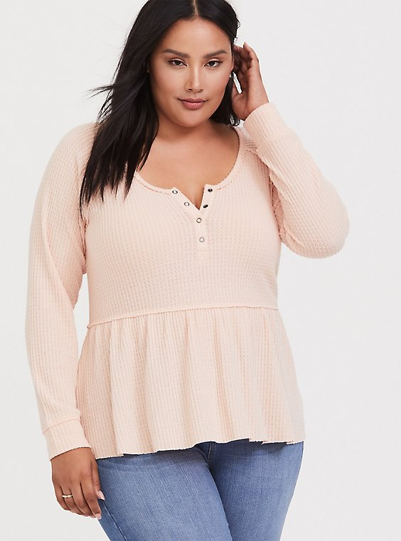 Plus Size Blush Pink Brushed Henley Babydoll Pullover, , hi-res