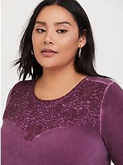 Plus Size Super Soft Grape Purple Lace Sharkbite Top, HIGHLAND THISTLE, alternate