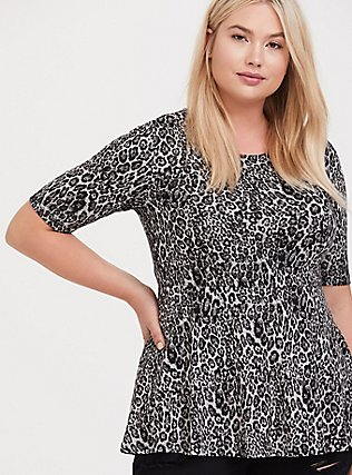 Grey Leopard Studio Knit Peplum Top, LEOPARD-BLACK, hi-res