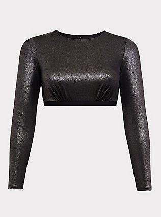 Silver Metallic Long Sleeve Under-It-All Crop Top, RICH BLACK, flat