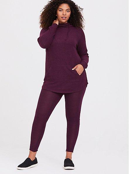 Super Soft Plush Burgundy Purple Cowl Neck Hoodie, HIGHLAND THISTLE, alternate